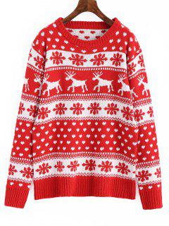 Snowflakes Elk Graphic Christmas Sweater - Red