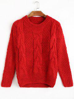 Cable Knit Crew Neck Jumper Sweater - Red