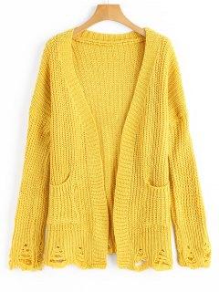 Gerippte Strickjacke Mit Taschen  - Gelb