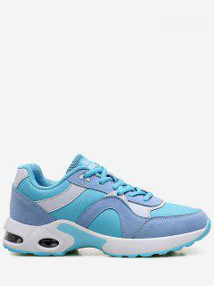 Athletic Breathable Color Block Sneakers - Blue 36