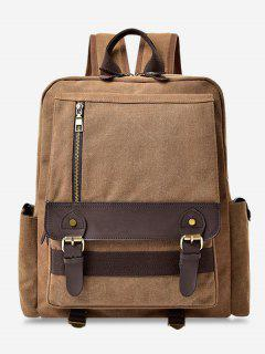 Color Block Double Buckle Straps Backpack - Brown