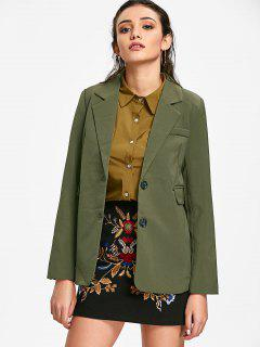 Lapel Single Breasted Blazer - Army Green M