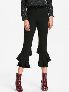 High Waist Flounce Flare Pants - Black M