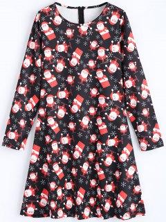 Weihnachtsmann Langarm Weihnachten Kleid - Schwarz M