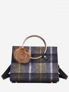 Plaid Pompom Striped Handbag - Blue