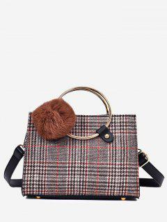 Plaid Pompom Striped Handbag - Brown