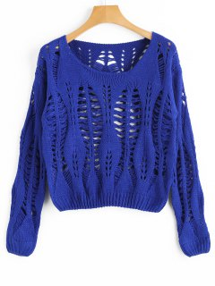 Cropped Ripped Sweater - Blue