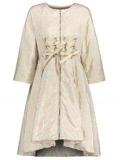 Lace Up Zip Up Skirted Coat - Apricot S