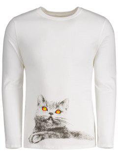 Cartoon Cat Long Sleeve Tee - White Xl