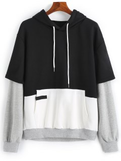 Double Layered Sleeve Color Block Hoodie - Black 3xl