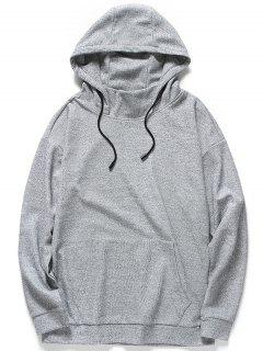 Kangaroo Pocket Heathered Hoodie - Gray 3xl