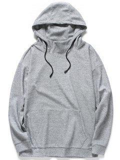 Kangaroo Pocket Heathered Hoodie - Gray L