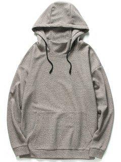 Kangaroo Pocket Heathered Hoodie - Khaki 3xl