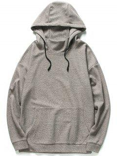 Kangaroo Pocket Heathered Hoodie - Khaki 2xl