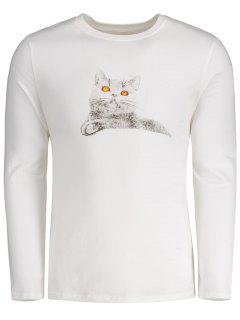 Long Sleeve Cartoon Cat T-shirt - White Xl