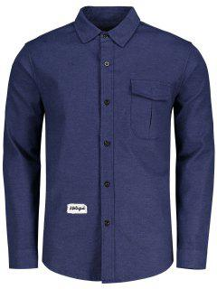 Pocket Patch Design Shirt - Blue 2xl