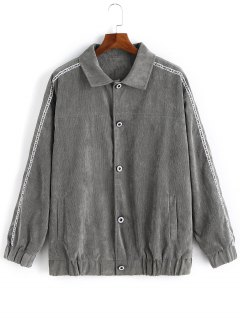 Button Up Graphic Corduroy Jacket - Gray L
