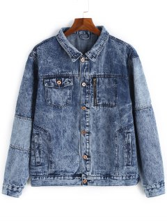 Button Up Snow Wash Denim Jacket - Blue 3xl