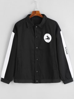 Color Black Button Up Jacket - Black 2xl