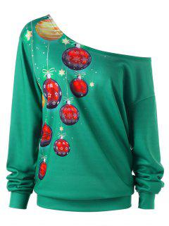 Plus Size Skew Collar Christmas Sweatshirt - Deep Green 2xl