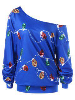 Weihnachten Plus Size String Light Skew Kragen Sweatshirt - Dunkel Blau 2xl
