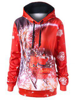Christmas Plus Size Sled Tunic Hoodie - Red 5xl
