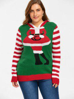 Christmas Plus Size Striped Hooded Knitwear - Red And Green 4xl