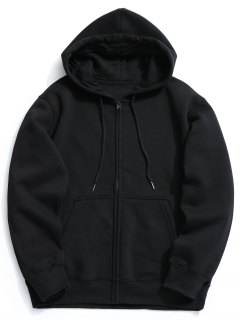 Fleece Kangaroo Pocket Zip Hoodie - Black L