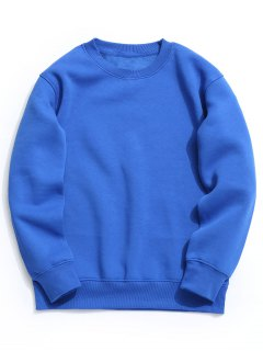 Fleece Mens Crew Neck Sweatshirt - Blue S