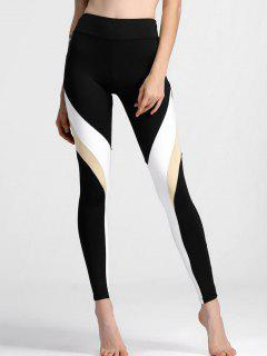 Color Block High Waisted Yoga Leggings - Black M