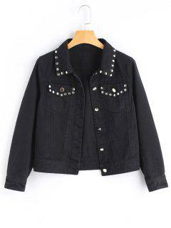 Studded Denim Jacket - Black L