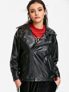 Leder Bikerjacke Mit Reißverschluss - Schwarz M