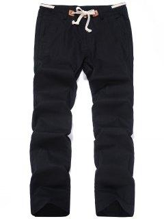 Linen Drawstring Pants - Black 4xl