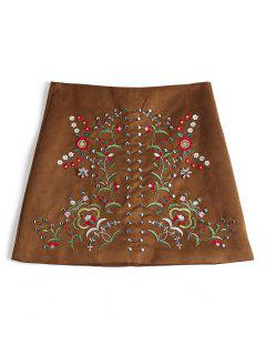 Floral Patched Rivet Faux Suede Skirt - Brown S