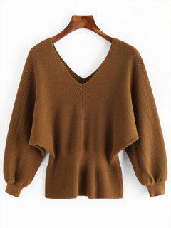 V Neck Slit Batwing Sleeve Sweater - Camel