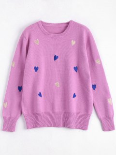 Heart Embroidered Plus Size Sweater - Tutti Frutti 4xl