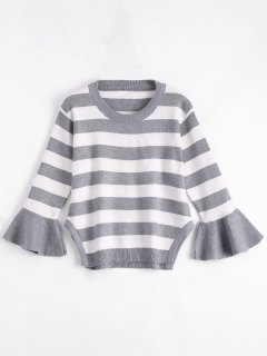 Striped Crew Neck Plus Size Sweater - Gray