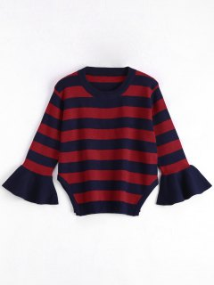 Striped Crew Neck Plus Size Sweater - Deep Blue