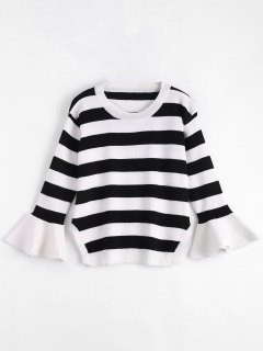 Striped Crew Neck Plus Size Sweater - White