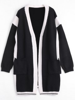 Two Tone Plus Size Cardigan - Black