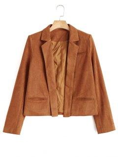 Lapel Cropped Faux Suede Jacket - Light Brown M