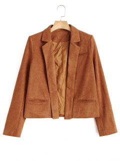 Lapel Cropped Faux Suede Jacket - Light Brown L