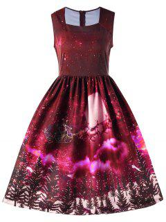 Christmas Square Neck Sleeveless 50s Swing Dress - Red L