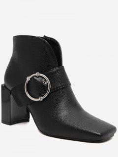 Buckle Strap Curve Block Heel Boots - Black 37