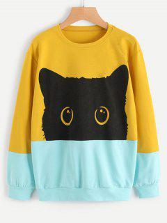 Contrasting Cute Cat Sweatshirt - Yellow M