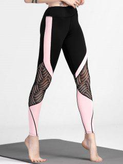 Color Block Lace Panel Yoga Leggings - Black M