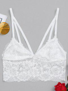 Caged Lace Bra Top - White L