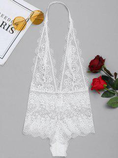Plunge V Neck Sheer Lace Teddy Lingerie - White S