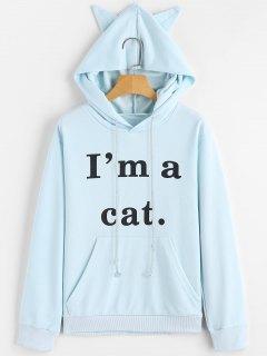 Sudadera Con Capucha Gráfica Cat De Bolsillo Frontal - Azul Claro Xs