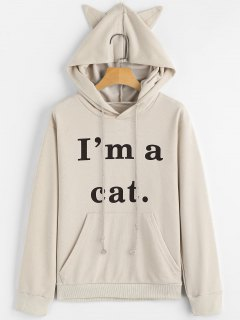 Front Pocket Letter Graphic Cat Hoodie - Apricot M